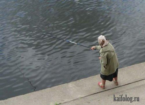 Фотожаба на бабусю-рыбачку (13 фотожаб)