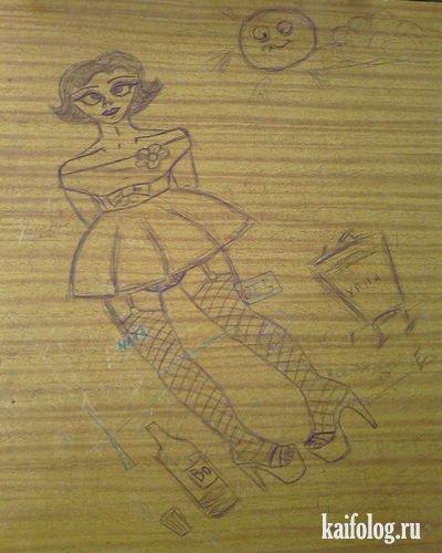 Что дети рисуют на партах (17 фото)