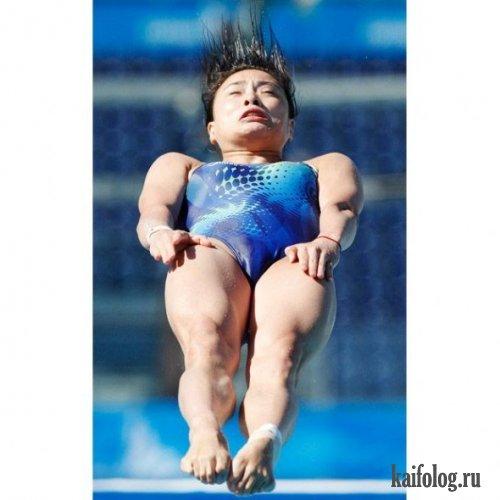 Прыгуну в воду отжигают или натужные лица (11 фото)