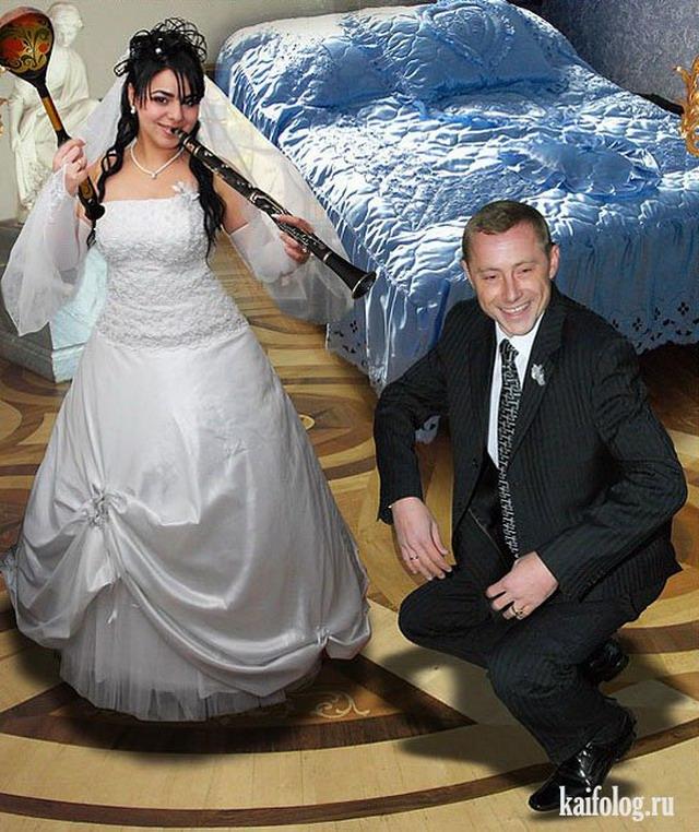 богато празднично фото со свадьбы странной пары россия свое положение
