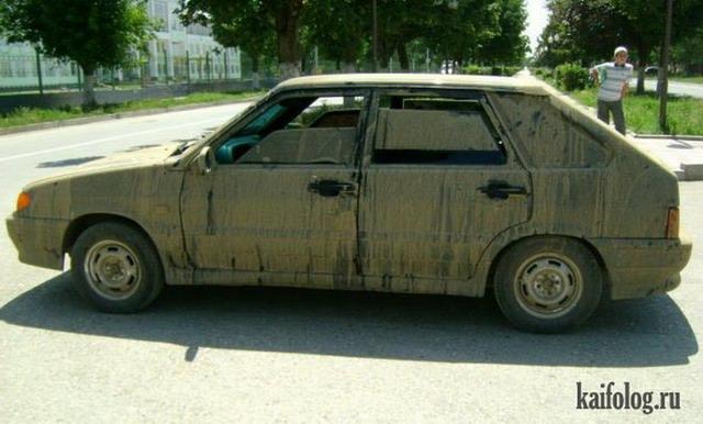 Приколы с грязными авто (50 фото)