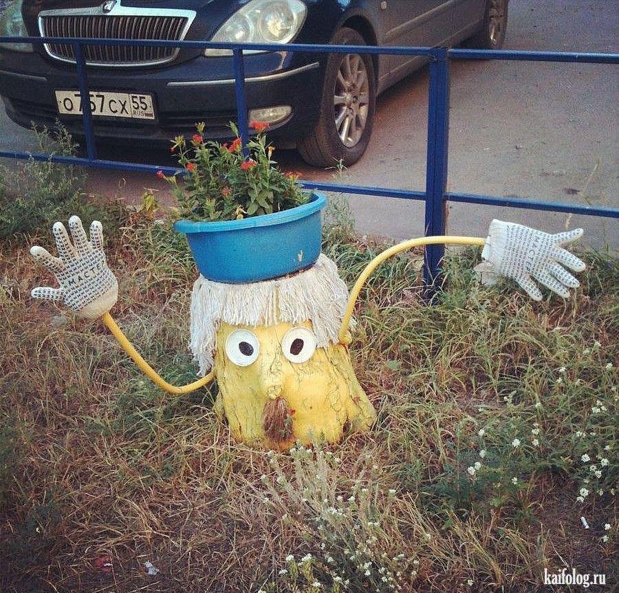 Как украсить двор своими руками фото из пластиковых бутылок