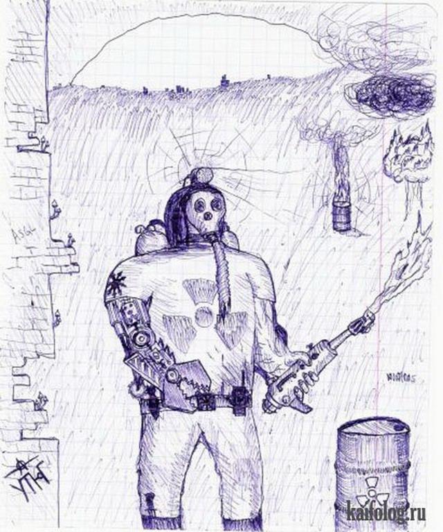 смешные рисунки ручкой: