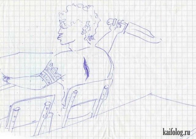 Прикольные рисунки в тетрадях (45 картинок)