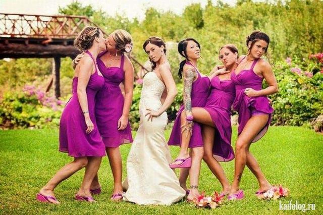 Прикольные свадебные фото (55 фото)