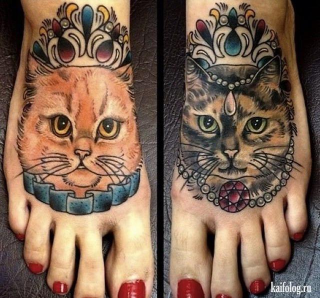 Тату с котами на ноге