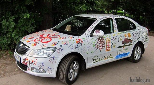 Прикольная аэрография на авто (60 фото)