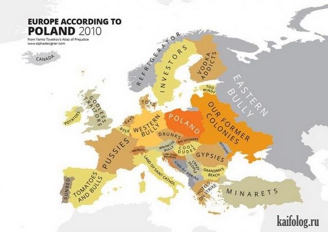 Карта Европы глазами разных стран мира (15 картинок)
