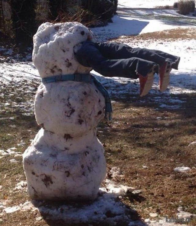 картинка прикол снеговик из грязи