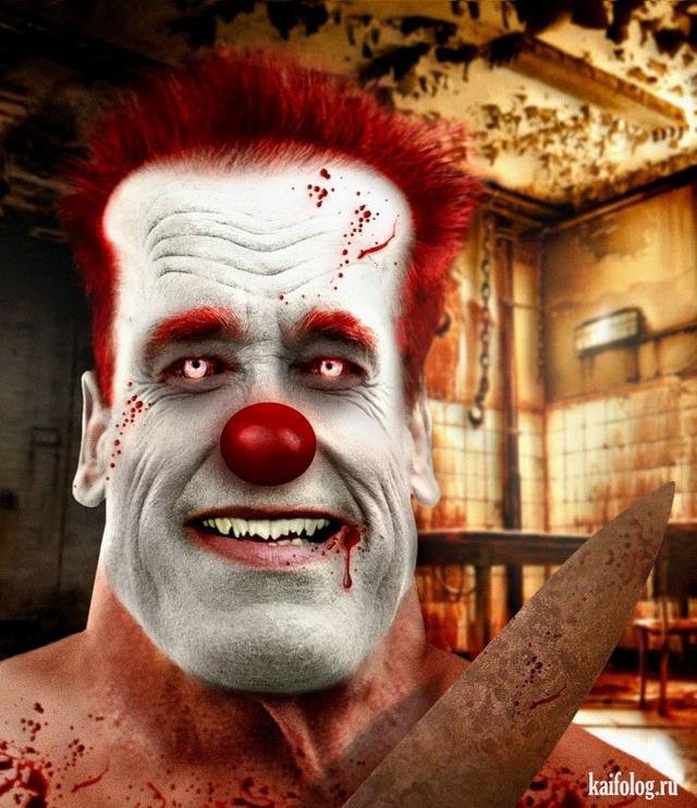 Голливудские актеры в виде злых клоунов (50 картинок)
