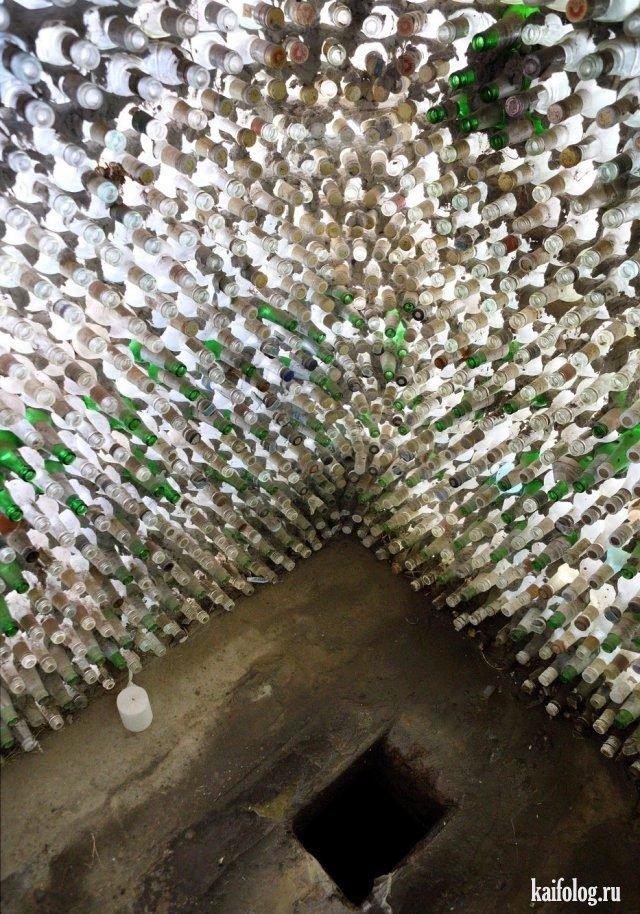 Из стеклянных бутылок (40 фото)