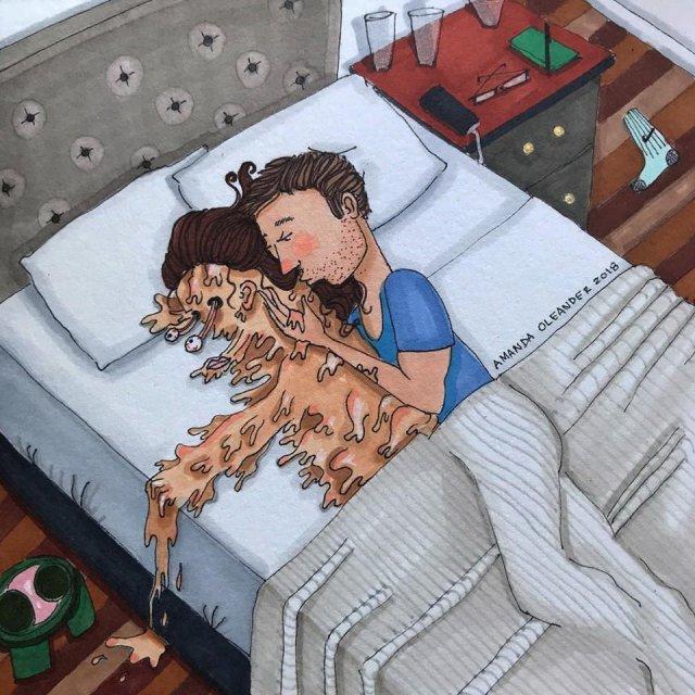 Рисунки девушки в кровати прикольные